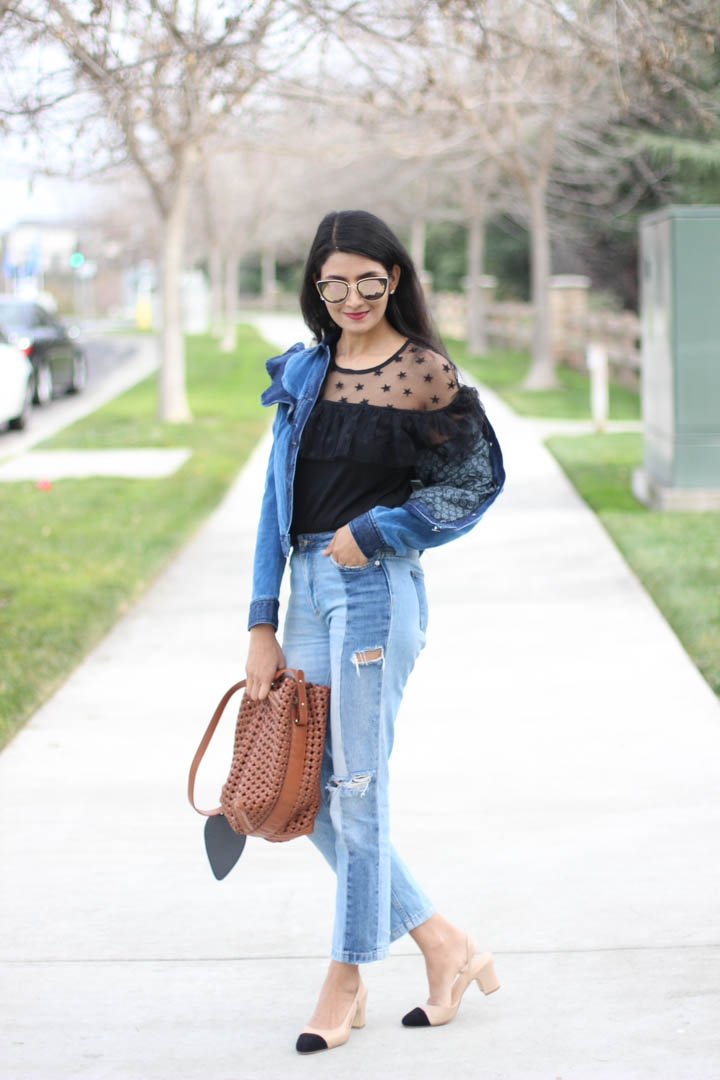Ruffled denim jacket and tulle top